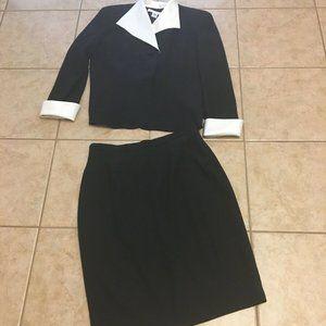 Vintage Womens Christian Dior Black Suit Skirt 14